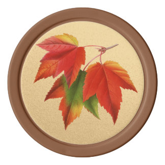Autumn Leaves Fall Colors Maple Leaf on Gold Poker Chips