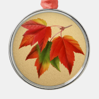 Autumn Leaves Fall Colors Maple Leaf on Gold Silver-Colored Round Decoration