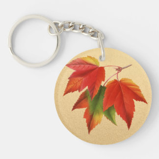 Autumn Leaves Fall Colors Maple Leaf on Gold Single-Sided Round Acrylic Key Ring