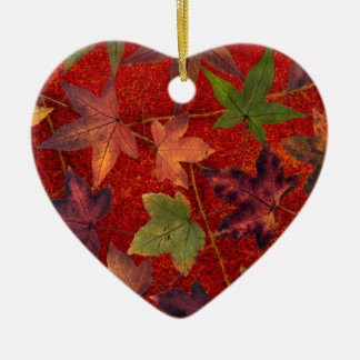 Autumn Leaves Fall Season Tree Leaf Colorful Ceramic Heart Decoration