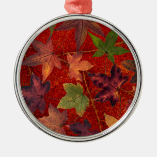 Autumn Leaves Fall Season Tree Leaf Colorful Silver-Colored Round Decoration