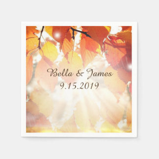 Autumn Leaves Fall  Wedding Collection Napkins Paper Serviettes