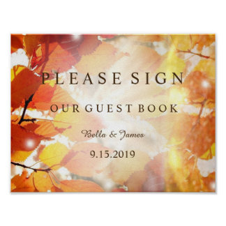 Autumn Leaves Fall Wedding Guest Book Sign