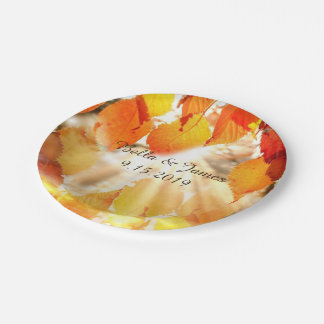 Autumn Leaves Fall Wedding Paper Plate