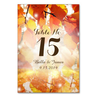 Autumn Leaves Fall Wedding Table Card