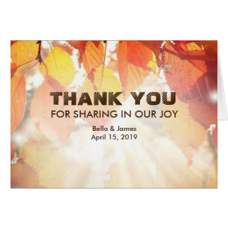 Autumn Leaves Fall Wedding Thank You Card