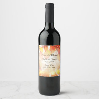 Autumn Leaves Fall Wedding  Wine Labels