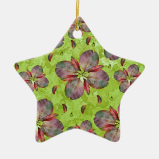 Autumn Leaves Falling Ceramic Star Decoration