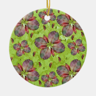 Autumn Leaves Falling Round Ceramic Decoration