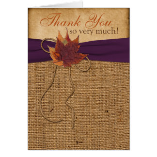 Autumn Leaves, FAUX Burlap PHOTO Thank You Card