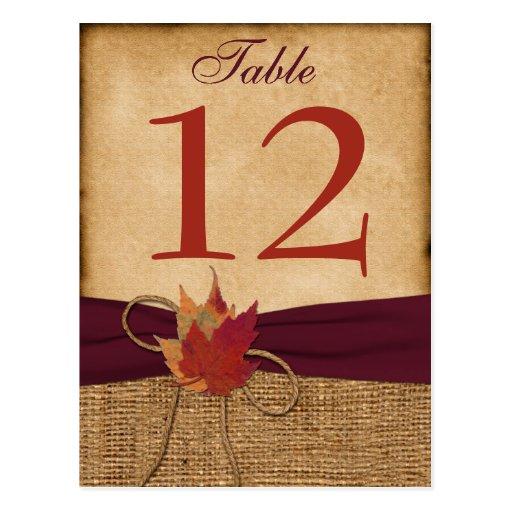 Autumn Leaves FAUX Burlap Table Number Card - Wine Postcard