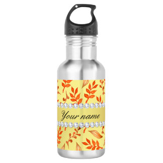 Autumn Leaves Faux Gold Foil Bling Diamonds 532 Ml Water Bottle