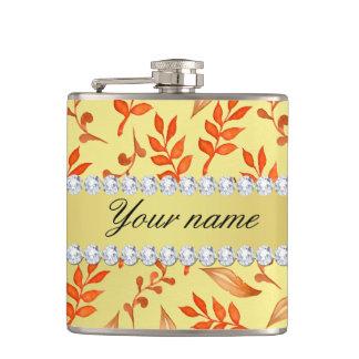 Autumn Leaves Faux Gold Foil Bling Diamonds Hip Flask