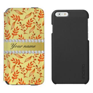 Autumn Leaves Faux Gold Foil Bling Diamonds Incipio Watson™ iPhone 6 Wallet Case