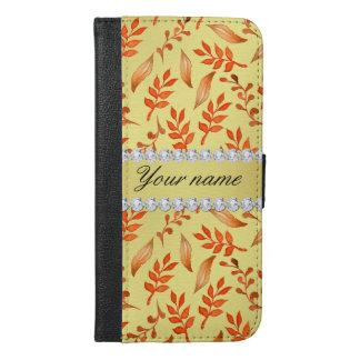 Autumn Leaves Faux Gold Foil Bling Diamonds iPhone 6/6s Plus Wallet Case