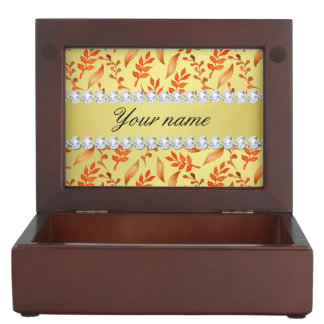 Autumn Leaves Faux Gold Foil Bling Diamonds Keepsake Box
