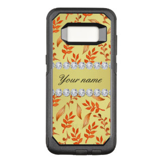 Autumn Leaves Faux Gold Foil Bling Diamonds OtterBox Commuter Samsung Galaxy S8 Case