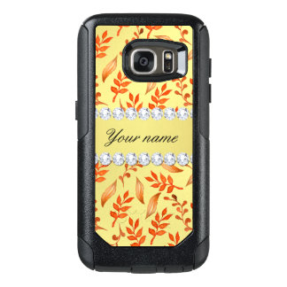 Autumn Leaves Faux Gold Foil Bling Diamonds OtterBox Samsung Galaxy S7 Case