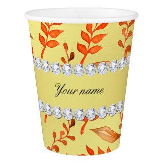 Autumn Leaves Faux Gold Foil Bling Diamonds Paper Cup