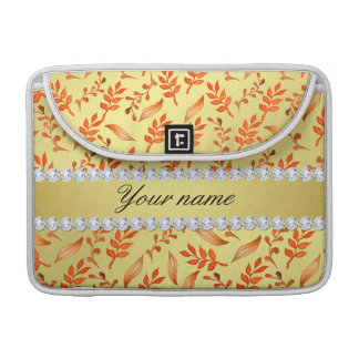 Autumn Leaves Faux Gold Foil Bling Diamonds Sleeve For MacBook Pro