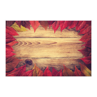 Autumn Leaves Frame On Wooden Background Stretched Canvas Prints