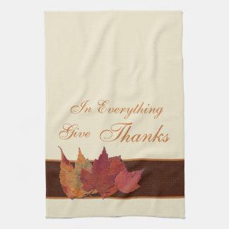 Autumn Leaves Give Thanks Kiitchen Towel