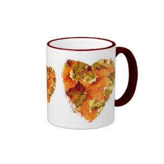 Autumn leaves heart coffee mug