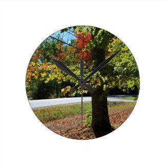 Autumn Leaves in Maine Round Clock
