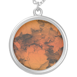 Autumn Leaves in Orange and Gold Round Pendant Necklace