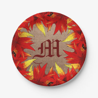 Autumn Leaves in Red and Gold Monogram Paper Plate 7 Inch Paper Plate