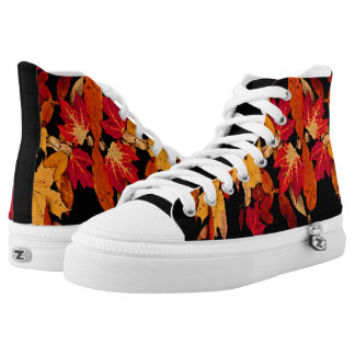 Autumn Leaves in Red Orange Yellow Brown High Tops