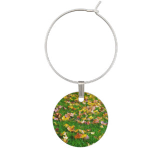 Autumn Leaves in the Green Grass Wine Charms