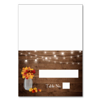 Autumn Leaves Mason Jar Lights Wood Wedding Place Card