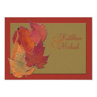 Autumn Leaves Monogrammed Wedding Invitation 2