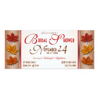 "Autumn Leaves November Bridal Shower Invitations 4"" X 9.25"" Invitation Card"