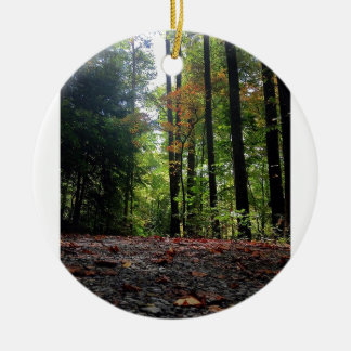 Autumn Leaves on a Dirt Road Round Ceramic Decoration