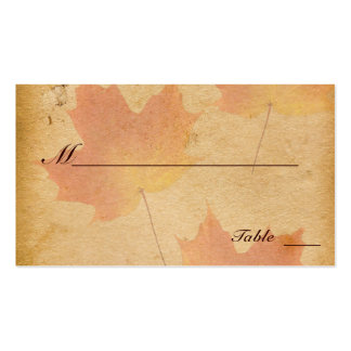 Autumn Leaves on Aged Paper Place Cards Business Card