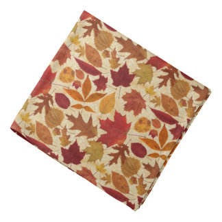 Autumn Leaves on Beige Bandana