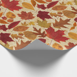 Autumn Leaves on Beige Wrapping Paper