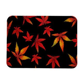 Autumn Leaves On Black Rectangular Photo Magnet