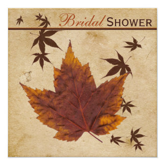 Autumn Leaves on FAUX Aged Paper Bridal Shower Card