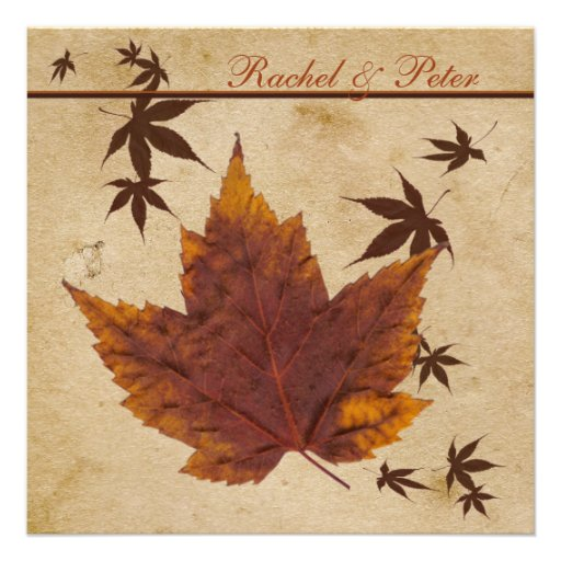 Autumn Leaves on FAUX Aged Paper Wedding Invite