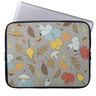 Autumn Leaves on Grey Laptop Sleeve