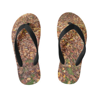 Autumn Leaves on Ground Kid's Thongs