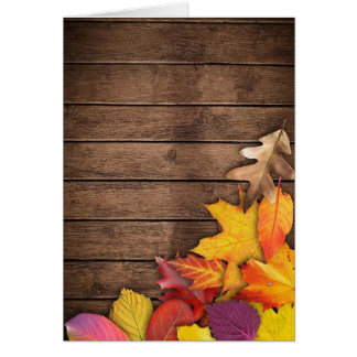 Autumn Leaves on Wood Background Greeting Card