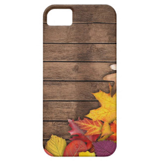 Autumn Leaves on Wood Background iPhone 5 Case