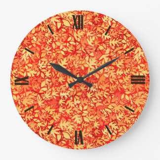 Autumn leaves, orange and gold wall clock