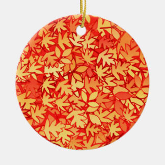 Autumn leaves, orange and gold christmas ornaments