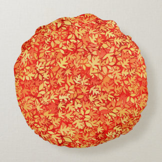 Autumn leaves, orange and gold round pillow