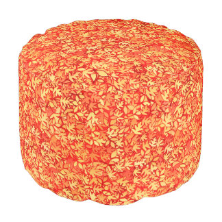 Autumn leaves, orange and gold round pouf